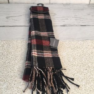 Primark Black Red Tan Plaid Checked Fuzzy Scarf